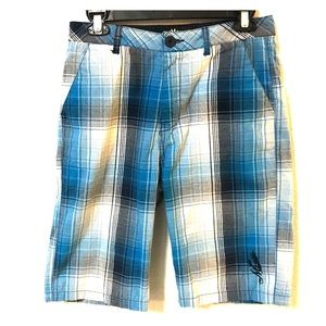 MICROS BLUE,NAVY, AND WHITE PLAID SHORTS